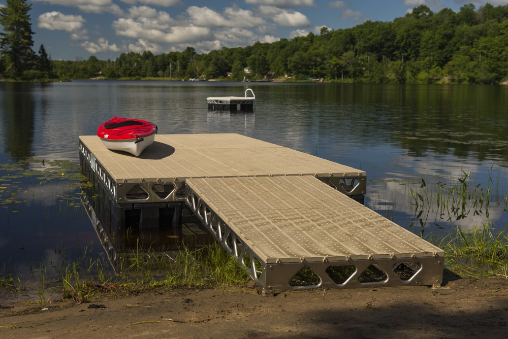 ThruFlow Decking on Dock with kayak and floating island in the background