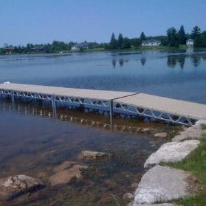 CanadaDocks standing dock kits with ramp and ThruFlow decking