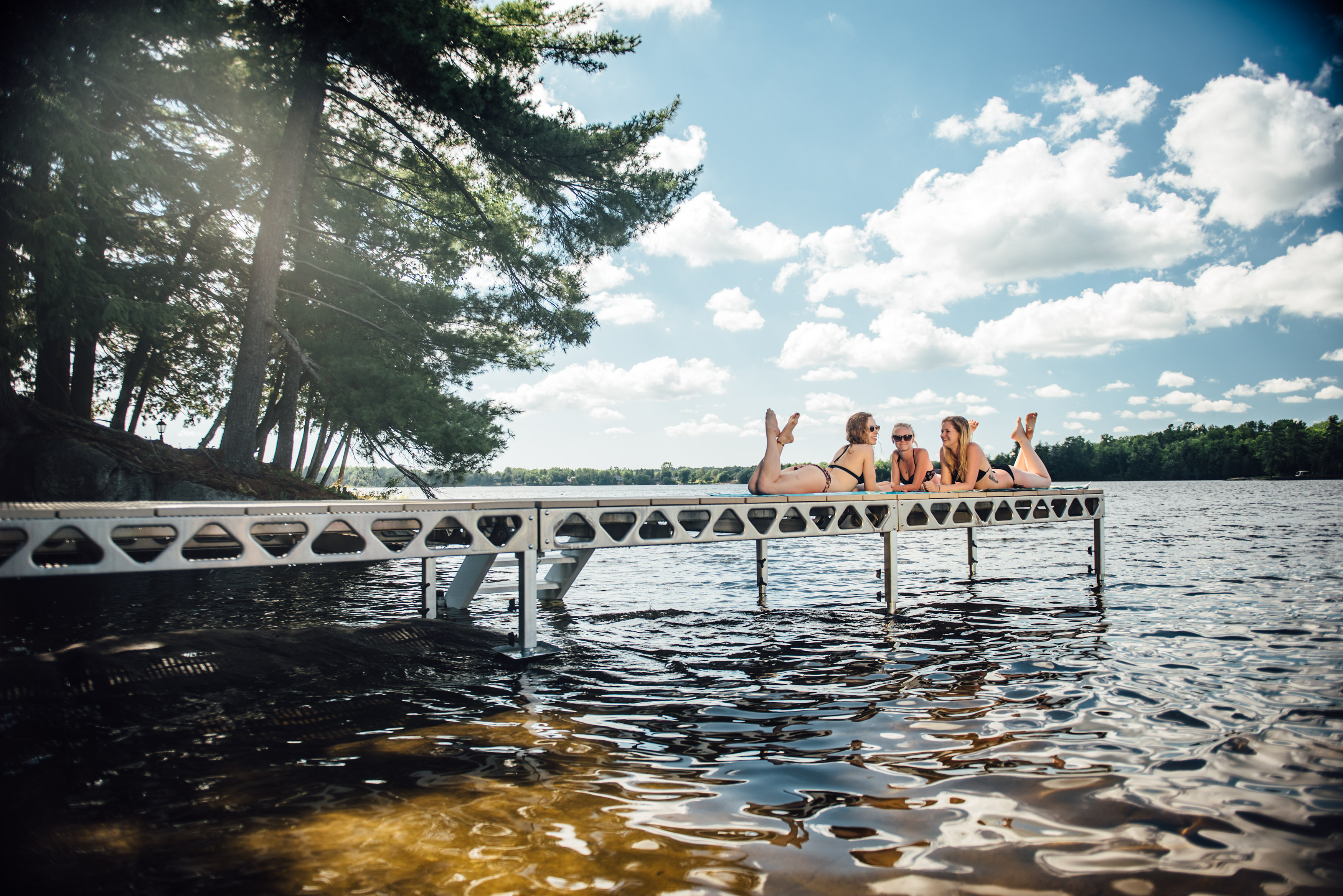 Girls Sunbathing on CanadaDock 4x8 standing dock section