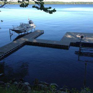 CanadaDocks custom dock layout with 2 boat lifts