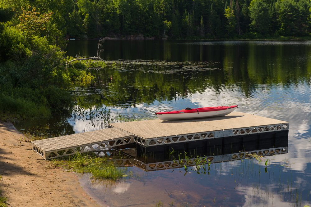 Kayak on a CanadaDocks floating 8x16 dock