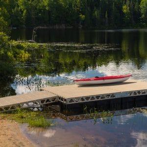 Kayak on a CanadaDocks floating 8x16 dock