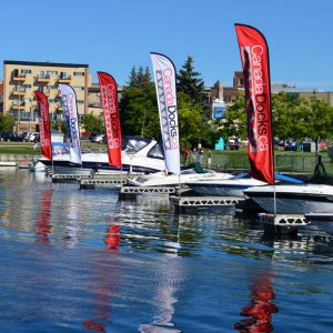 Canada docks sponsorship flags in the Barrie Marina