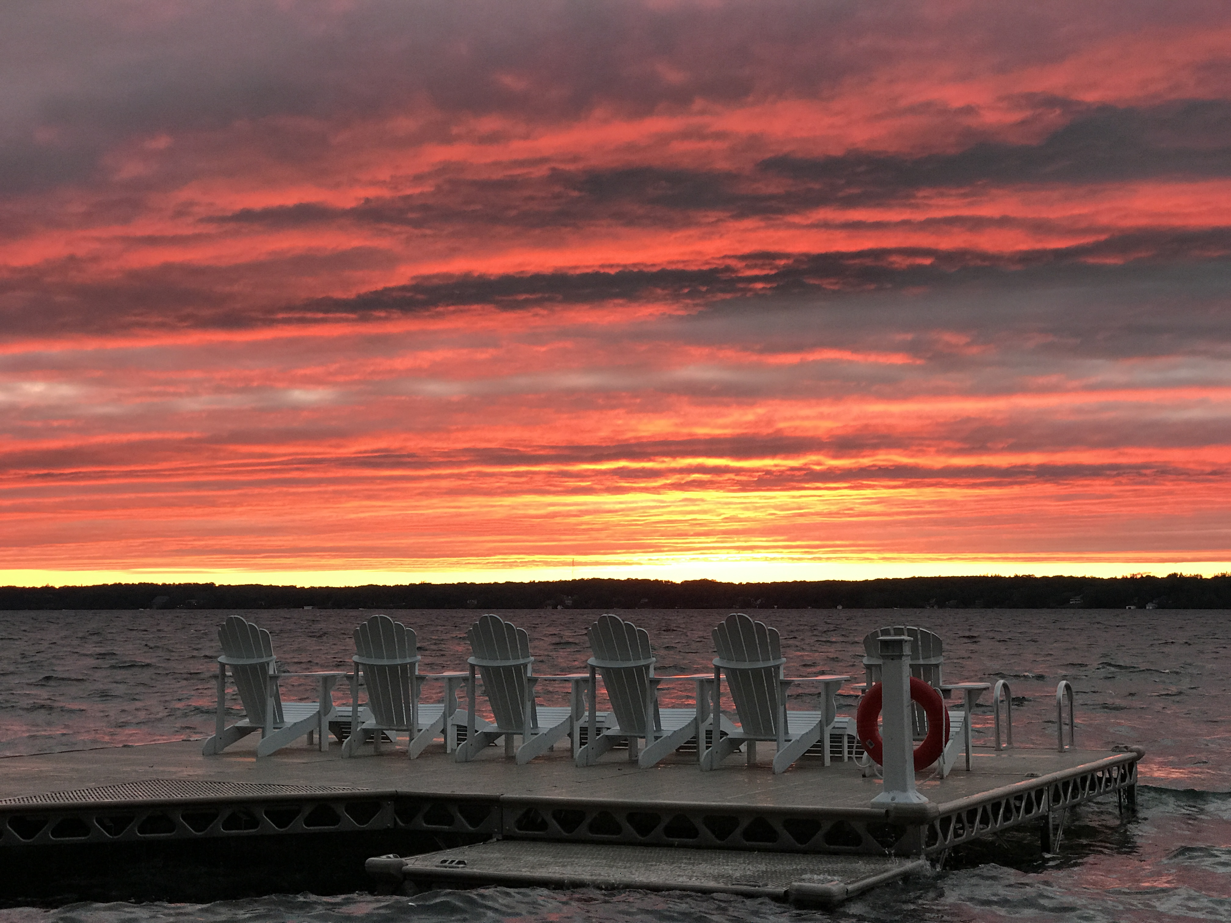 Kempenfelt Bay Sunset with muskoka chairs and CanadaDocks dock