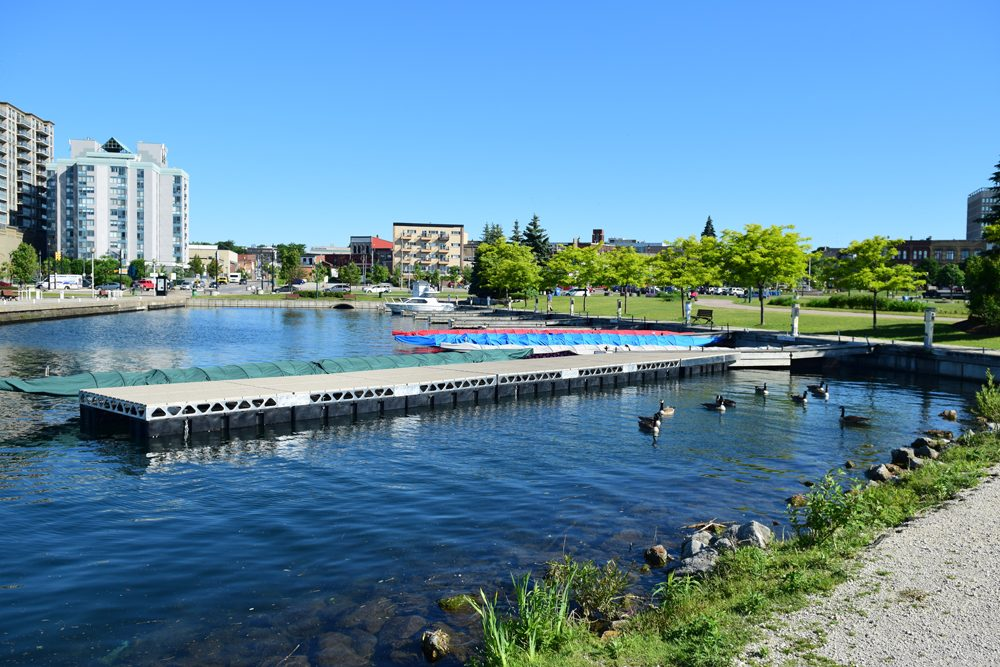 Setting up the CanadaDocks sponsorship dock for barries dragon boat festival