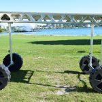 CanadaDocks standing dock wheel kit installed