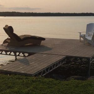 CanadaDocks t shaped dock with muskoka chairs and recliner