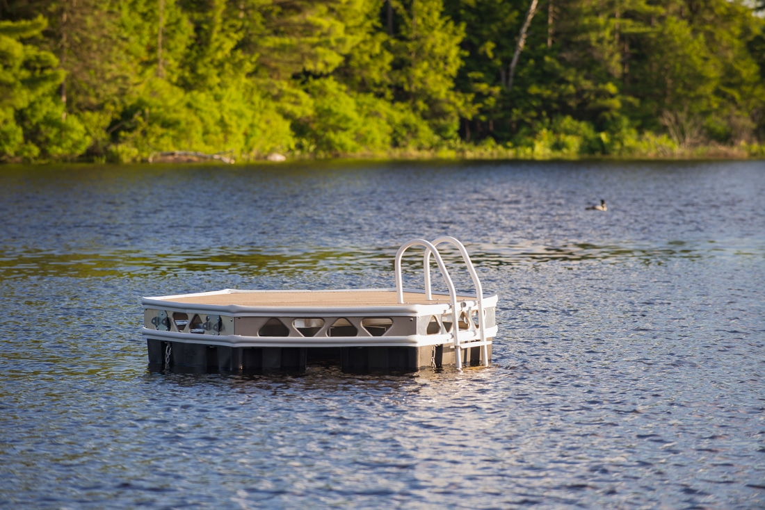 Do it yourself 7x8 complete hexagon floating dock kit canadadocks canadadocks small floating hexagon in a lake solutioingenieria Image collections