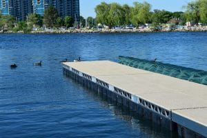 End of the CanadaDocks floating dock in the Barrie marina