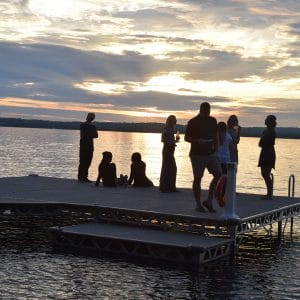 Party on the dock at sunset