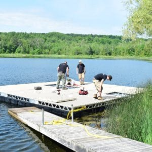 Installing CanadaDocks Floating Dock on Pond