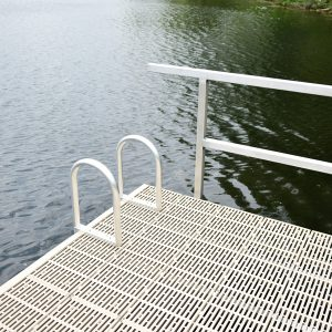 Aluminum Dock Ladder and Handrail installed on Dock