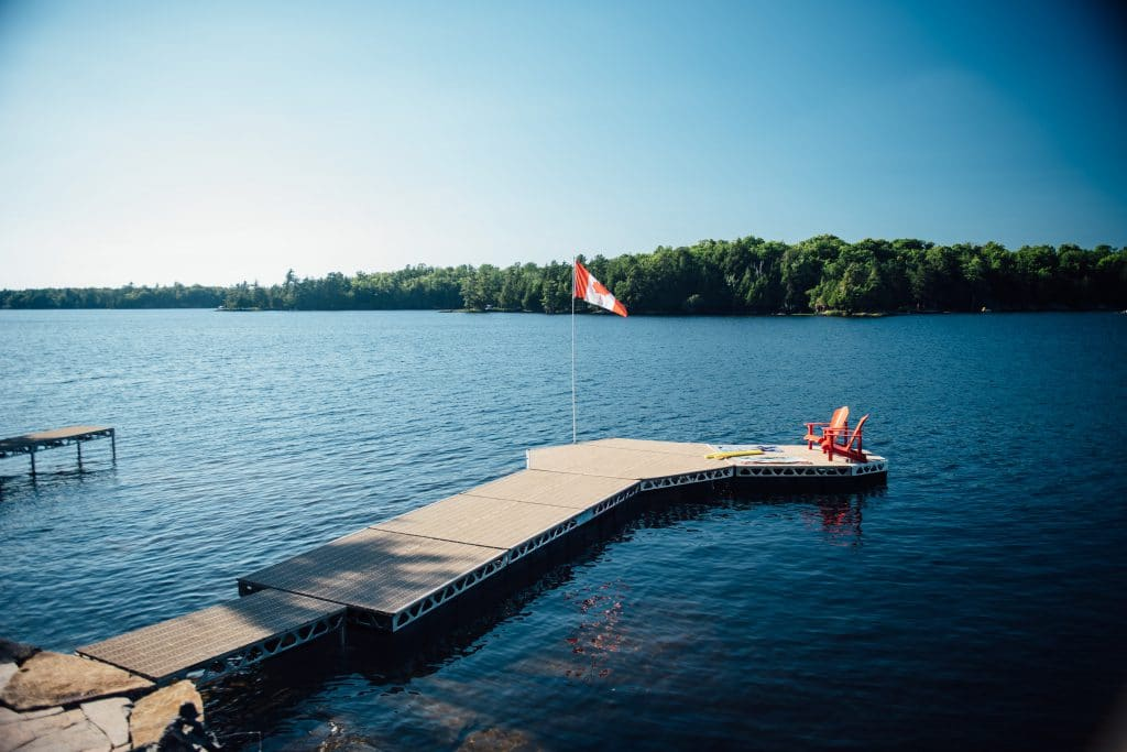 Completed CanadaDocks Floating Dock Configuration with Flag Pole Kit