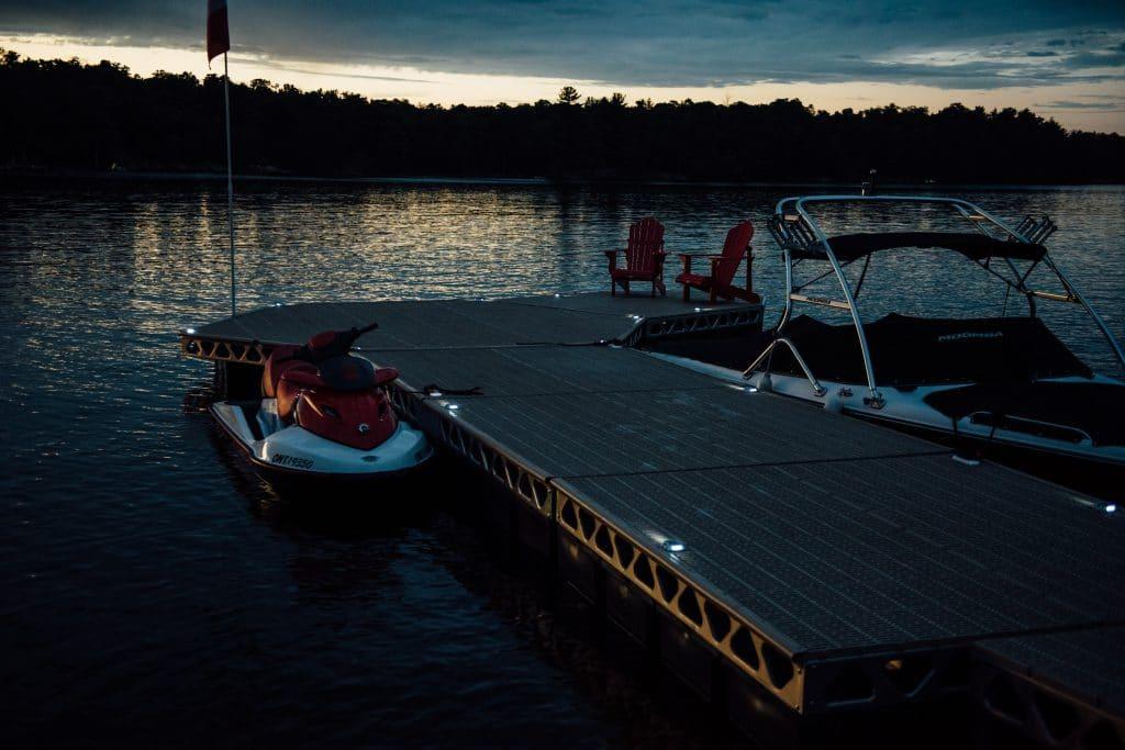 Solar LED Lights on CanadaDocks Floating Dock
