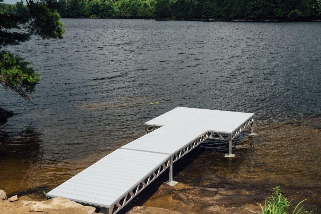 CanadaDocks standing dock configuration with gray AlphaDeck on Manitouwabing Lake