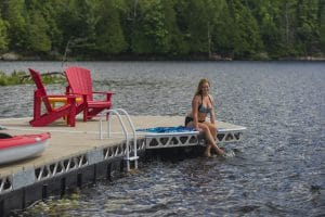 CanadaDocks Floating Dock with Ladder and Red Muskoka Chairs