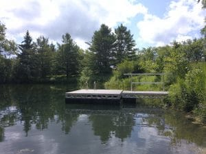 CanadaDocks floating platform with Canoe rack and ladder