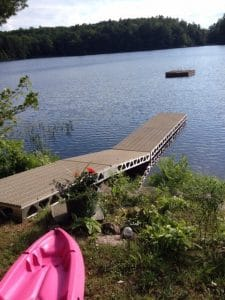CanadaDocks dock and floating island with ramp and Thruflow decking