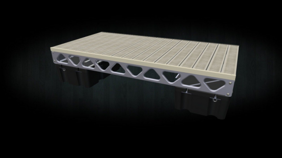A 3d render of our 4x8 floating dock