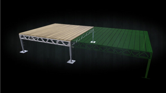 A 8x8 standing dock quick link section with wooden decking