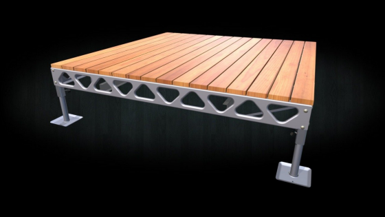 DIY 8x8 standing aluminum dock with cedar decking