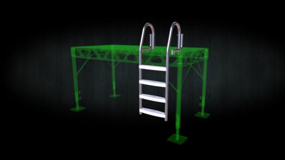 Stainless steel flip up ladder