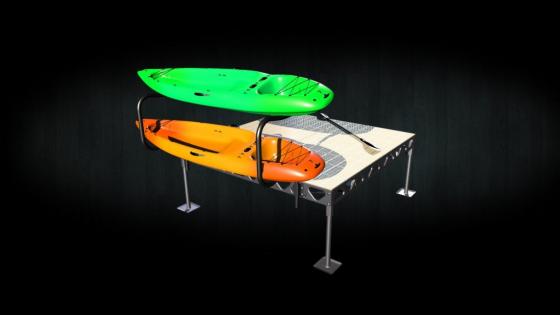Aluminum kayak rack dock attachment