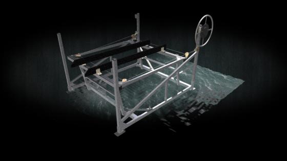 3d render of a 3000lb aluminum frame boat lift